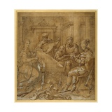 An Allegory of Music: Fame at the Virginals; Two Young Lutenists Seated; a Bearded Elder Teaches… Giclée-tryk af Lavinia Fontana