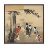A Shinto Priest, Three Women and a Child, Edo Period, C.1799 Impressão giclée por Katsushika Hokusai