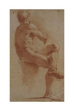 A Male Nude Seated with His Back Turned Giclée-tryk af Annibale Carracci