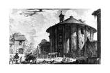 View of the Temple of Cybele in the Piazza Della Bocca Della Verita, from the 'Views of Rome'… Giclée-tryk af Giovanni Battista Piranesi