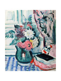 Mixed Dahlias in a Green Vase, with a Book on a Chequered Tablecloth Giclee Print by George Leslie Hunter