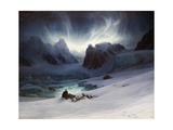 Magdalena Bay, View from Peninsula in Northern Spitsbergen with Aurora Borealis, 1841 Giclee Print by François-Auguste Biard