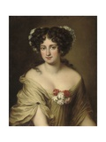 Portrait of Contessa Ortensia Ianni Stella, Bust Length, in an Ivory Chemise, with Flowers in Her… Giclée-Druck von Jacob Ferdinand Voet