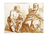 Seated Bishop and Kneeling Saint Lámina giclée por  Guercino