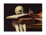 St. Jerome Writing, C.1604 (Detail) Giclee Print by  Caravaggio