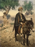 Arab Man from Bethlehem on His Donkey, C.1880-1900 Fotografisk tryk