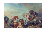 Attila the Hun, Followed by His Barbarian Hordes, Trampling Italy and the Arts Underfoot Reproduction procédé giclée par Eugene Delacroix