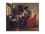 The Glass of Wine, C.1658-1660 Giclée-Druck von Johannes Vermeer