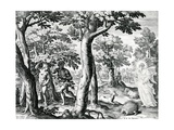 Adam and Eve Hiding from the Lord, Plate 3 of 'The Story of the First Men', Engraved by Jan… Giclée-Druck von Maarten de Vos