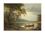 Salmon Fishing on the Caspapediac River (Quebec, Canada) Giclée-tryk af Albert Bierstadt