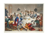 A Midnight Modern Conversation, Illustration from 'Hogarth Restored: the Whole Works of the… Giclee Print by William Hogarth