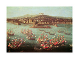 The Fleet of King Charles III of Spain before the City of Naples, 6 October 1759 Giclée-tryk af Antonio Joli