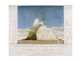 Chile. Physical Map of the Andes by Alexander Humboldt Giclée-tryk