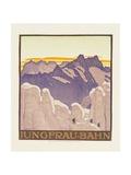 Jungfrau-Bahn, Poster Advertising the Jungfrau Mountain Railway Gicléetryck av Emil Cardinaux
