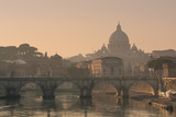 St Peter's Basilica and Ponte Sant Angelo, Rome, Italy Fotografisk tryk