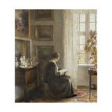 Reading by a Sunny Window Gicléetryck av Carl Holsoe