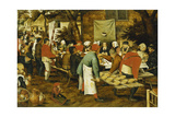 A Peasant Wedding Feast, 1630 Giclée-tryk af Pieter Brueghel the Younger