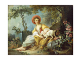 A Young Woman Seated with a Dog and a Watering Can in a Garden Reproduction procédé giclée par Jean-Honoré Fragonard