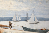 Pulling the Dory, 1880 Giclee Print by Winslow Homer