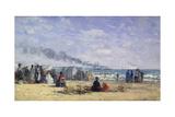 The Beach at Trouville at Bathing Time; La Plage De Trouville a L'Heure Du Bain, 1868 Reproduction procédé giclée par Eugène Boudin