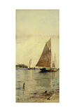 Drying the Sails, Oyster Boats, Patchogue, Long Island Giclée-tryk af Alfred Thompson Bricher