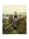 Girl with a Basket in a Garden Giclée-Druck von Daniel Ridgway Knight