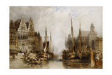 Houses of the Franc Bateliers and Church of St. Nicholas on the Canal at Ghent, 1845 Giclee Print by William Callow
