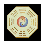 Plate with Yin Yang and Trigram Symbols Giclée-vedos