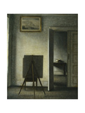 An Interior with the Artist's Easel Giclée-tryk af Vilhelm Hammershoi