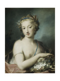 Flora, Half Length, Holding Plums Giclee-trykk av Rosalba Giovanna Carriera