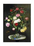 Un Bouquet de roses en a Glass Vase by Wild Fleurs sur a Marble Table, 1882 Reproduction procédé giclée par Otto Didrik Ottesen