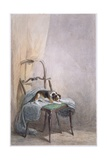 Study of a Dog on a Chair Giclee Print by William Henry Hunt