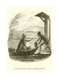 Guy Fawkes and Robert Catesby Landing Powder Lámina giclée por George Cruickshank