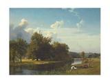 A River Landscape, Westphalia, 1855 Giclée-tryk af Albert Bierstadt