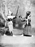 Kendo, or Japanese Fencing, C.1860-80 Photographic Print