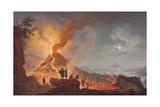 Mount Vesuvius Erupting by Night, Seen from the Atrio Del Cavallo with Spectators in the… Giclée-Druck von Pierre Jacques Volaire