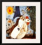 Les Fiancees de la Tour Eiffel Art by Marc Chagall