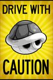 Drive With Caution Shell Plastic Sign Targa di plastica