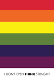 I Don't Even Think Straight (Gay Flag) Plastic Sign Plastic Sign