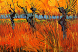 Vincent Van Gogh Willows at Sunset Plastic Sign Plastic Sign by Vincent van Gogh