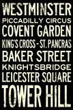 London Underground Vintage Stations Travel Plastic Sign Plastskilt