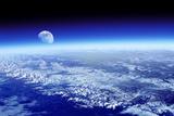Moon Rising Over Earth's Horizon Fotografie-Druck von Detlev Van Ravenswaay