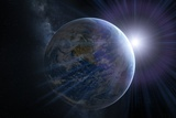 Earth And Sunrise From Space, Artwork Fotografie-Druck von Detlev Van Ravenswaay