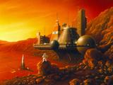 Artwork of a Space Colony on the Surface of Mars Fotografie-Druck von Detlev Van Ravenswaay