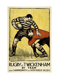 Rugby at Twickenham Reproduction giclée Premium par  The Vintage Collection
