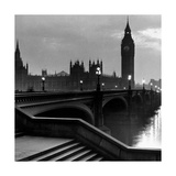 Bridge with Big Ben Premium Giclée-tryk