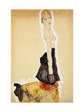 Kneeling Girl with Spanish Skirt Giclée-tryk af Egon Schiele