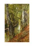 A Wooded River Landscape Reproduction procédé giclée par Peder Mork Monsted