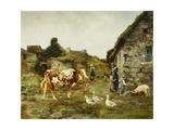 The Farmyard Giclée-tryk af Adolphe Charles Marais