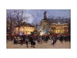 La Fete, Place de la Republique, Paris Reproduction procédé giclée par Eugene Galien-Laloue